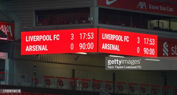 Final Score of Liverpool and Arsenal after the PL2 game at Anfield on October 17, 2021 in Liverpool, England.