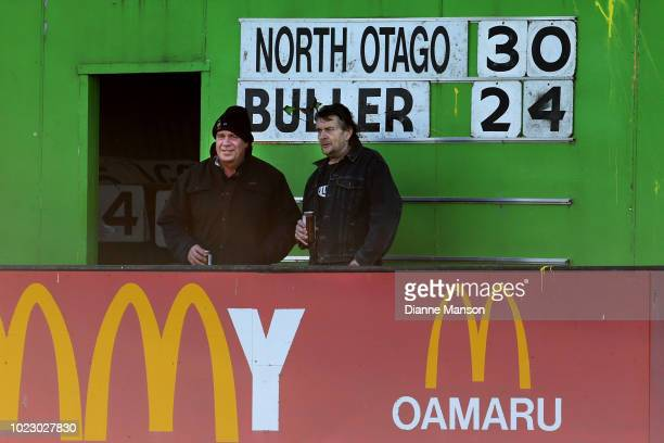 Final score seen on the scoreboard during the round one Heartland Championship match at Whitestone Contracting Stadium on August 25 2018 in Oamaru...