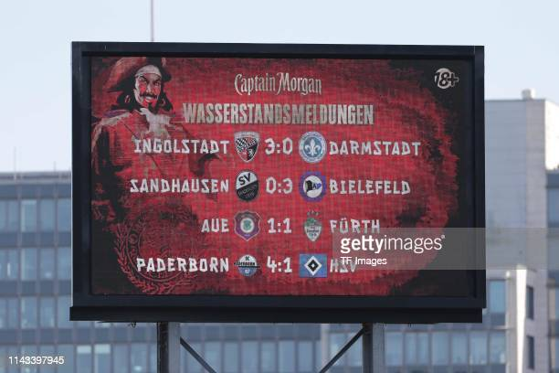 Final scores of the other games are seen on the score board after the Second Bundesliga match between FC St Pauli and VfL Bochum 1848 at...