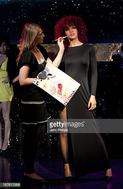 Final Touches Are Given To The New Wax Figure Of RB Queen Rihanna At Madame Tussauds In London