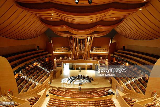Final touches are put on the Walt Disney Concert Hall after a dedication ceremony October 20 2003 in Los Angeles California The 2265seat hall...