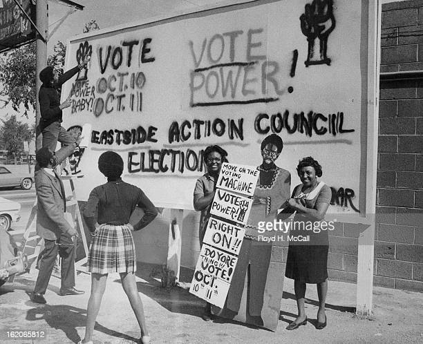 OCT 8 1969 OCT 9 1969 Final Touches Made In Campaign To Get Out Action Center Voters Neighborhood representative Bob Ragland 2856 Marion St stands on...