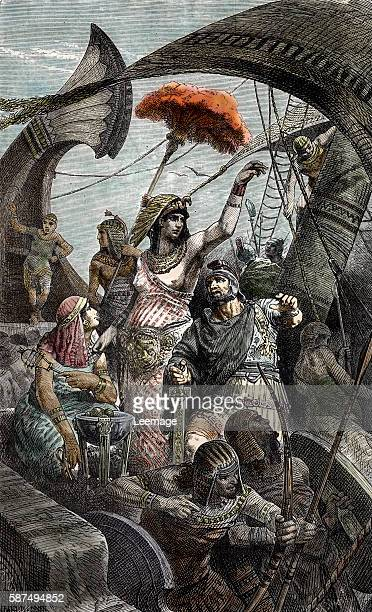 Final War of the Roman Republic queen Cleopatra during the battle of Actium Greece 2nd september 31 BC Engraving from 'Rollin's ancient history' 19th...