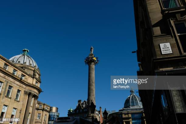 Final work is carried out on an art installation called The Worker's Maypole at Grey's Monument on the launch day of the Great Exhibition of the...