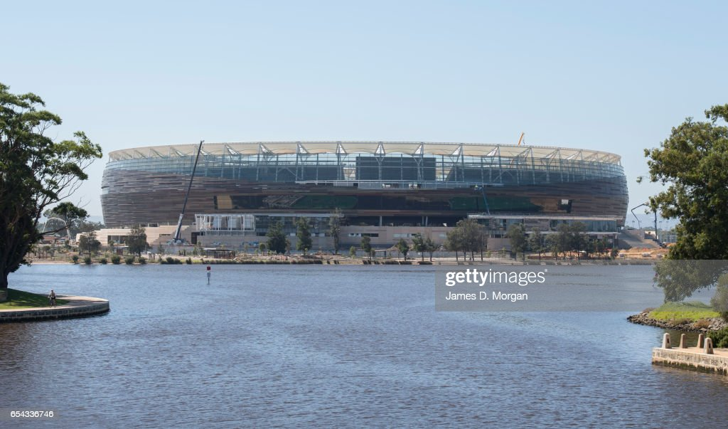 Final work is taking place to the Perth Stadium on March 17, 2017 in Perth, Australia. The WA Labor Party announced plans to sell off the naming rights of Perth Stadium and Perth Arena in order to boost the State's budget. The new stadium is currently under construction in the Perth suburb of Burswood.