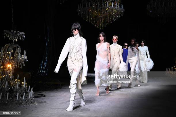 Finale at the Sportmax Fall/Winter 2021-2022 show during Milan Fashion Week on February 27, 2021 in Milano, Italy