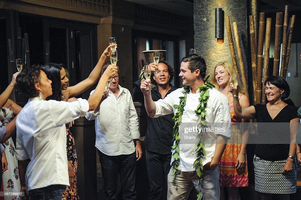 TOP CHEF -- 'Finale' Episode 1117 -- Pictured: (l-r) Runner-up Nina Compton, host Padma Lakshmi, Nina's husband Larry, Nina's brother, winner Nick Elmi, wife Kristen Elmi, mother Mrs. Elmi --