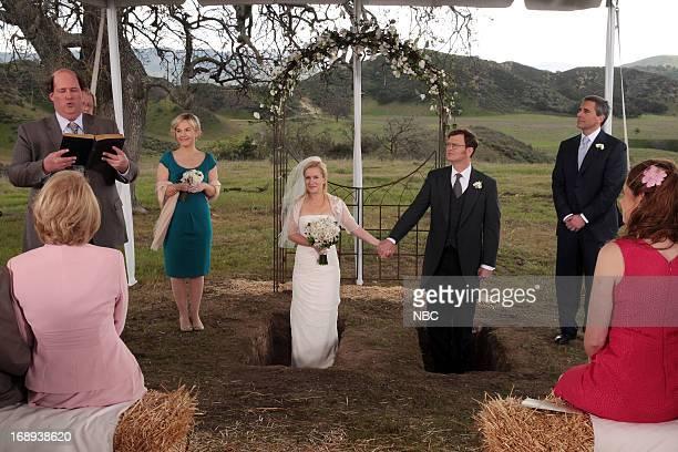 THE OFFICE Finale Episode 924/925 Pictured Brian Baumgartner as Kevin Malone Rachael Harris as Rachel Angela Kinsey as Angela Martin Rainn Wilson as...