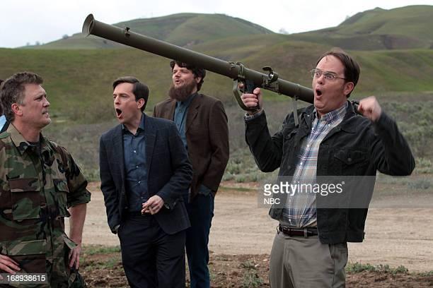THE OFFICE Finale Episode 924/925 Pictured Ed Helms as Andy Bernard Rainn Wilson as Dwight Schrute