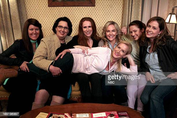 """Finale"""" Episode 924/925 -- Pictured: Kate Flannery as Meredith Palmer, Phyllis Smith as Phyllis Vance, Catherine Tate as Nellie Bertram, Angela..."""