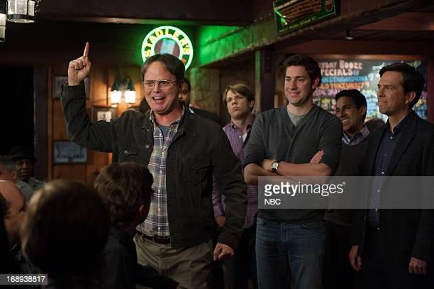 THE OFFICE Finale Episode 924/925 Pictured Rainn Wilson as Dwight Schrute Jake Lacy as Pete John Krasinski as Jim Halpert Ed Helms as Andy Bernard