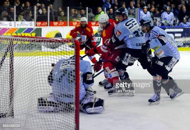 Finale Icehockey - Daryl Andrews , Sønderjyske Ishockey - Daniel Madsen , AAB Ishockey - Goalie Alfie Michaud, Sønderjyske Ishockey - Daniel...