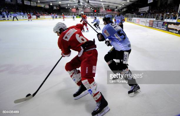 Finale Icehockey - Neal Martin , AAB Ishockey - Kim Karsberg, Sønderjyske Ishockey. © Lars Rønbøg / Frontzonesport