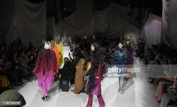 Finale on the runway at the Mary Katrantzou show during London Fashion Week February 2019 at the Coutts Garden Court on February 16 2019 in London...