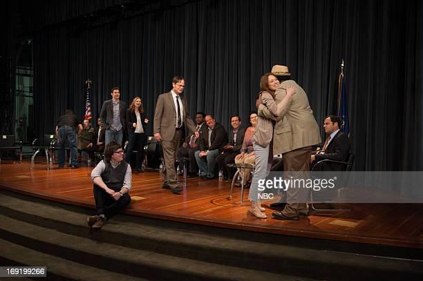 THE OFFICE Finale Pictured John Krasinski as Jim Halpert Jenna Fischer as Pam Beesly Halpert Clark Duke as Clark Rainn Wilson as Dwight Schrute Ellie...