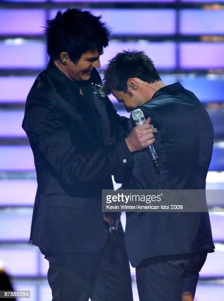 Finalist Adam Lambert and American Idol Season 8 winner Kris Allen onstage during the American Idol Season 8 Grand Finale held at Nokia Theatre L.A....