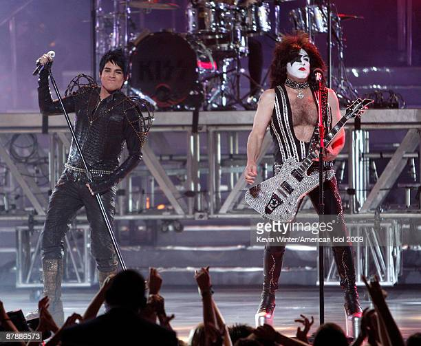 Finalist Adam Lambert and musician Paul Stanley of KISS perform onstage during the American Idol Season 8 Grand Finale held at Nokia Theatre L.A....