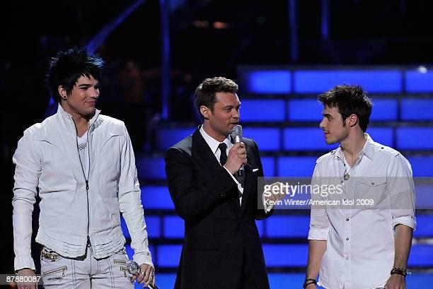 Finalist Adam Lambert, host Ryan Seacrest, and finalist Kris Allen speak onstage during the American Idol Season 8 Grand Finale held at Nokia Theatre...