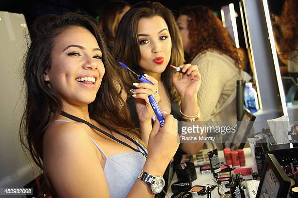 Finalist Adelaine Morin and Ashley Marie attend NYX FACE Awards 2014 Presented by NYX Cosmetics at Club Nokia on August 22 2014 in Los Angeles...