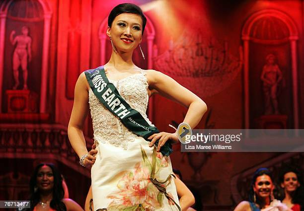 Finalist Aili Sun competes for the title of Miss Earth Australia at the Enmore Theatre September 13 2007 in Sydney Australia Thirtyfive finalists are...