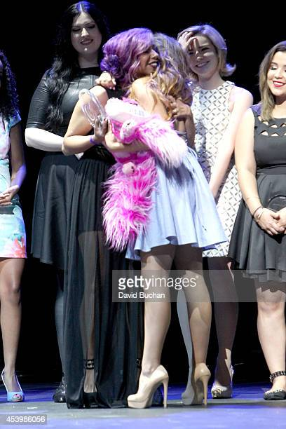 Finalist Bailey Van Der Veen previous winner Charis Lincoln finalists Adelaine Morin Erin Timony and Ashley Marie attend NYX FACE Awards 2014...