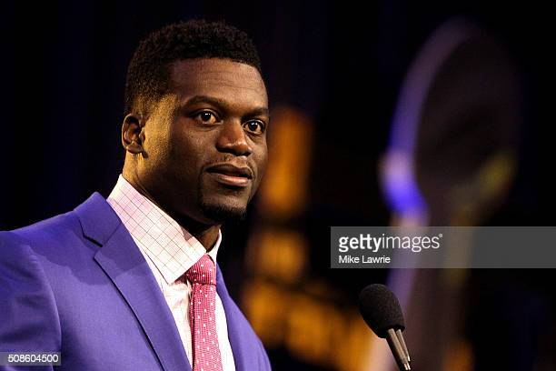 Finalist Benjamin Watson of the New Orleans Saints speaks during the 2015 Walter Payton Man of the Year Finalist press conference prior to Super Bowl...