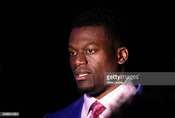 Finalist Benjamin Watson of the New Orleans Saints speaks to media during the 2015 Walter Payton Man of the Year Finalist press conference prior to...