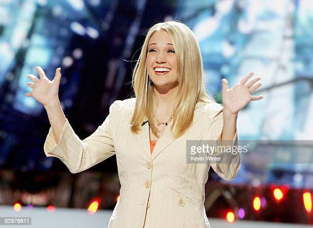 Finalist Carrie Underwood sings at the 'American Idol' final performance show at the Kodak Theatre on May 21 2005 in Los Angeles California