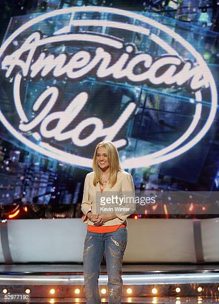 Finalist Carrie Underwood sings at the 'American Idol' final performance show at the Kodak Theatre on May 24 2005 in Los Angeles California