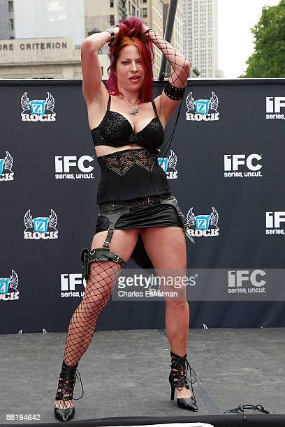 Finalist Debra Diamant performs at America's Hottest Rocker Mom contest in Madison Square Park on June 3 2009 in New York City