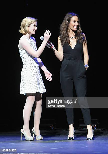 Finalist Erin Timony of FreshBlush and host Catt Sadler attend NYX FACE Awards 2014 Presented by NYX Cosmetics at Club Nokia on August 22 2014 in Los...