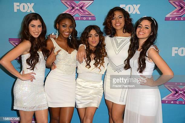 Finalist Fifth Harmony Lauren Juaregui Normani Kordei Ally Booke Dinah Jane Hansen Camila Cabello arrives at Fox's 'The X Factor' Season Finale Night...