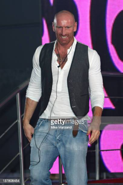 Finalist Gareth Thomas gets evicted from Celebrity Big Brother 2012 at Elstree Studios on January 27 2012 in Borehamwood England