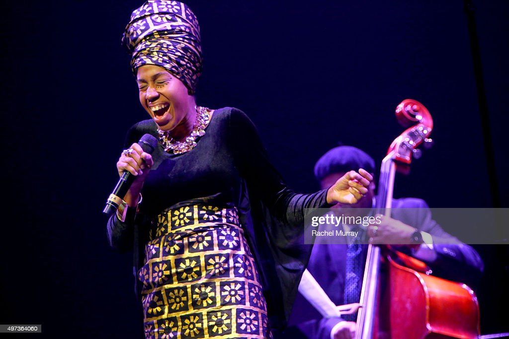 Finalist Jazzmeia Horn performs onstage during the Thelonious Monk Institute International Jazz Vocals Competition 2015 at Dolby Theatre on November 15, 2015 in Hollywood, California.