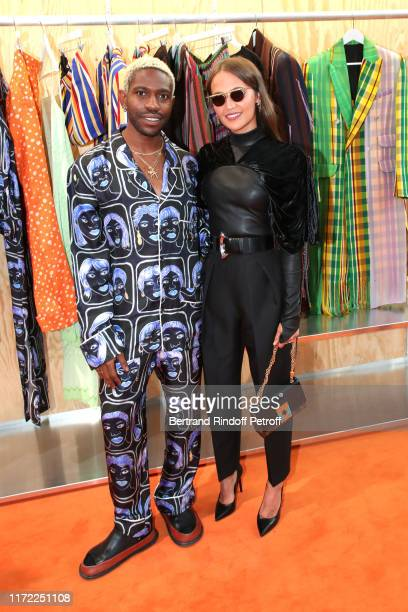 Finalist Kenneth Izedonmwen and actress Alicia Vikander attend the LVMH Prize 2019 Edition at Louis Vuitton Foundation on September 04, 2019 in...