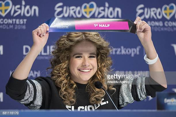 Finalist of the 2016 Eurovision Song Contest Belgian singer Laura Tesoro attends a press conference in Stockholm Sweden on May 12 2016