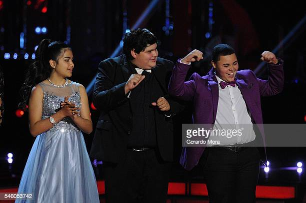 Finalists Alejandra Gallardo Christopher Rivera and Axel Cabrera smile during Telemundo 'La Voz Kids' Finale at Universal Orlando on July 9 2016 in...