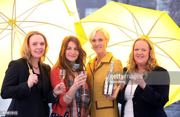Finalists at the Veuve Clicquot Awards, left to right, Louise Wymer, co director of The Catering Academy, Victoria Stapleton, founder of Brora, Laura...