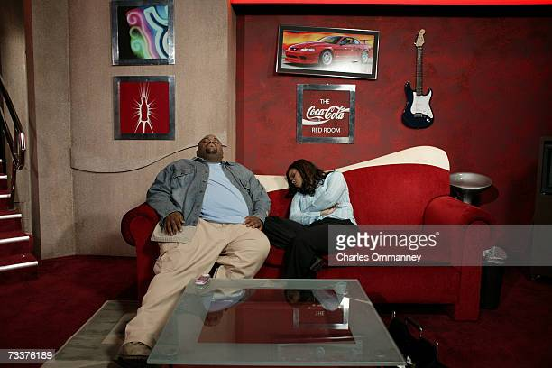 Finalists Clay Aiken Ruben Studdard and Kimberley Locke practice before the show's grand finale on May 21 2003 at the Universal Amphitheatre in...