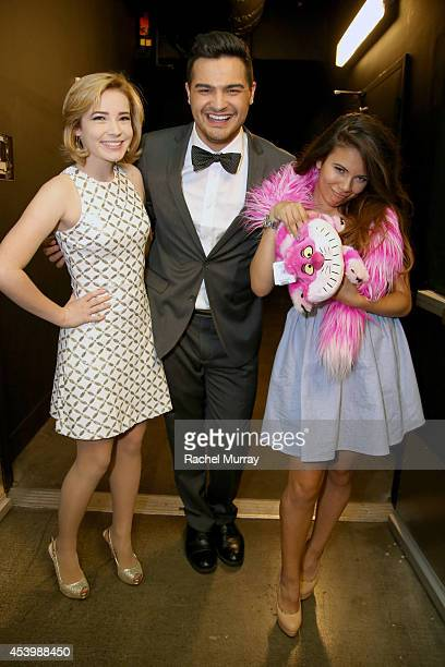 Finalists Erin Timony Alex Rivera and Adelaine Morin attend NYX FACE Awards 2014 Presented by NYX Cosmetics at Club Nokia on August 22 2014 in Los...