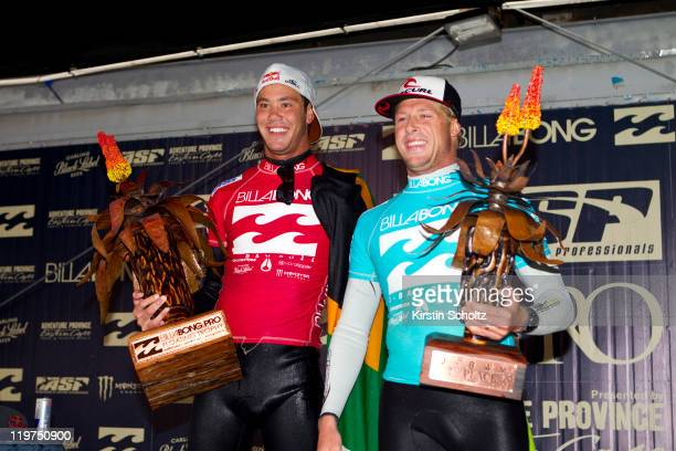 Finalists event winner Jordy Smith of South Africa and runner-up Mick Fanning of Australia at the Billabong Pro Jeffreys Bay on July 24, 2011 in...