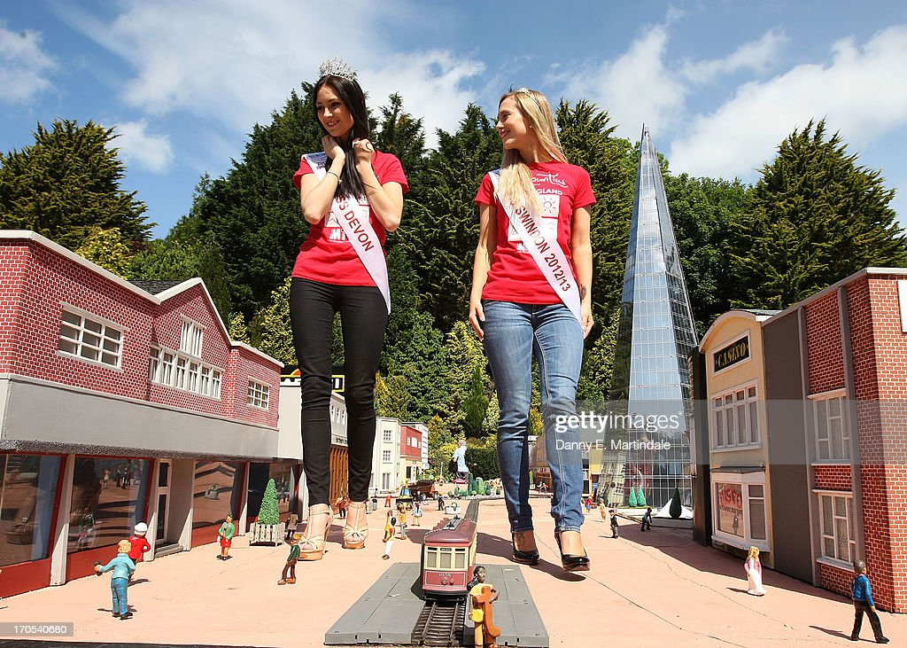 Finalists for Miss England 2013 visit Babbacombe Model Village before Sundays final, on June 14, 2013 in Torquay, England.