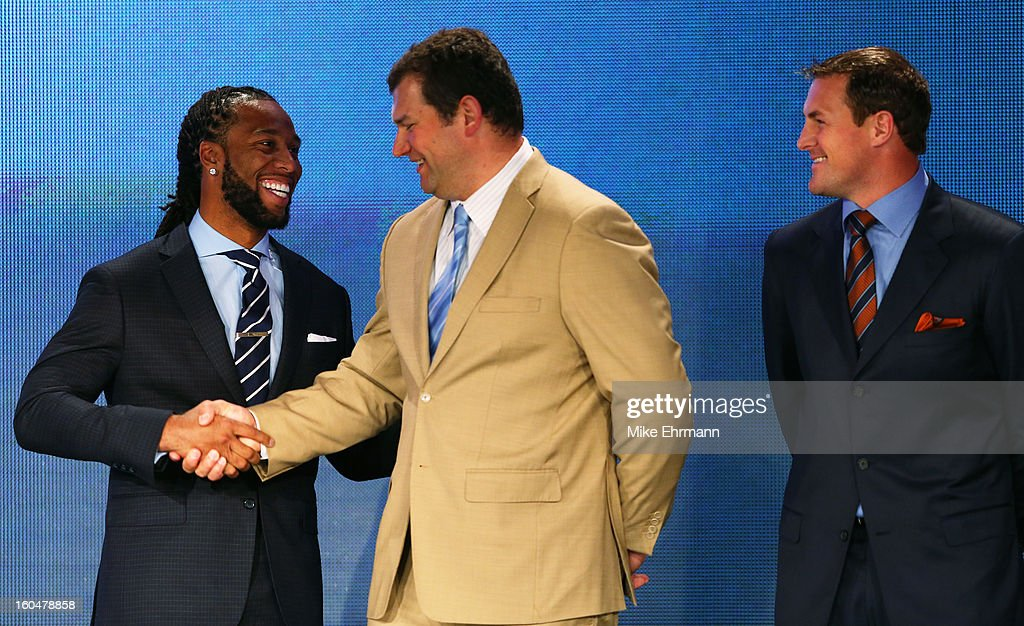 Finalists for the Walter Payton Man of the Year award (L-R), Larry Fitzgerald of the Arizona Cardinals, Joe Thomas of the Cleveland Browns and Jason Witten of the Dallas Cowboys attend a press conference for Super Bowl XLVII at the Ernest N. Morial Convention Center on February 1, 2013 in New Orleans, Louisiana.