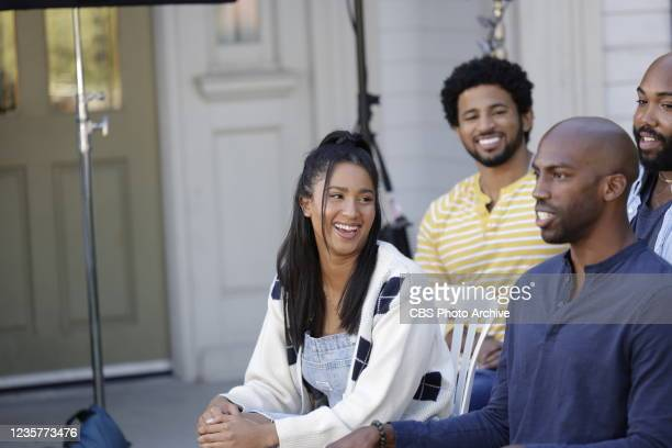 Finalists from the CBS series Big Brother 23 being interviewed on the CBS Radford Lot for Entertainment Tonight. Pictured L-R: Kyland Young, Hannah...