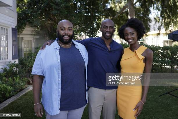 Finalists from the CBS series Big Brother 23 being interviewed on the CBS Radford Lot for Entertainment Tonight. Pictured L-R: Derek Frazier, Xavier...