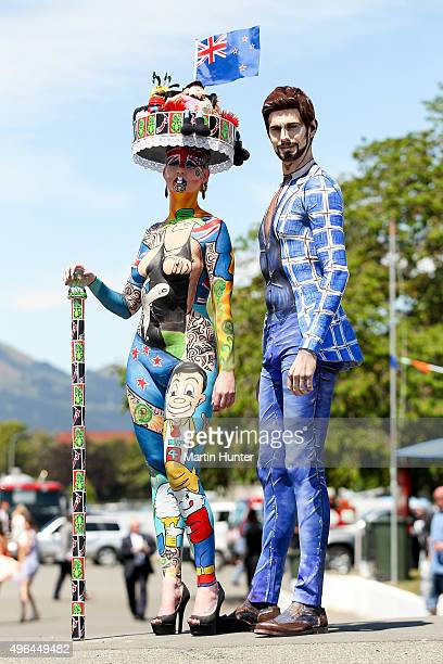 Finalists in the Body Art contest pose during the New Zealand Trotting Cup at Addington Raceway on November 10 2015 in Christchurch New Zealand