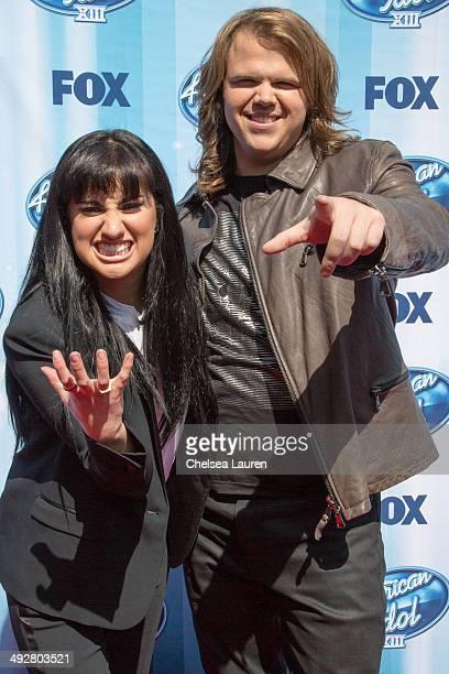 Finalists Jena Irene and Caleb Johnson arrive at the American Idol XIII grand finale at Nokia Theatre L.A. Live on May 21, 2014 in Los Angeles,...
