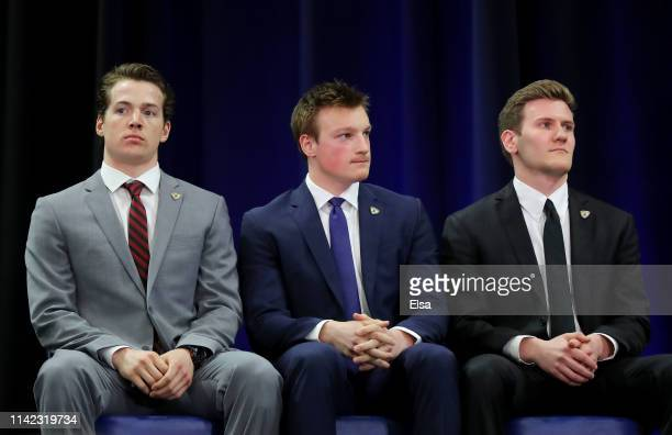 Finalists Jimmy Schuldt of St Cloud StateCale Makar of the University of Massachusetts and Adam Fox of Harvard University await the announcement of...