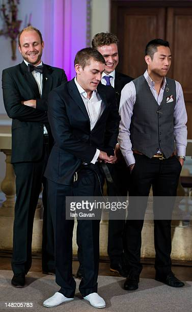 Finalists Kasper Riewe Henriksen of Denmark Andy Mil of Great Britain Fjalar Goud of the Netherlands and TeKai Yin of Taiwan attend the eliminations...