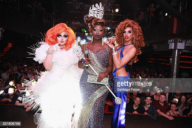 Finalists Kim Chi Bob the Drag Queen and Naomi Smalls pose onstage during the RuPaul's Drag Race Season 8 Finale Party at Stage 48 on May 16 2016 in...